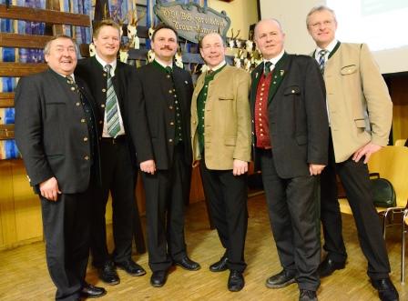 Gemeinsam am BJT Braunau: LAbg. Franz Weinberger, NR Manfred Hofinger, BJM Johann Priemaier, LR Max Hiegelsberger, LJM Josef Brandmayr und BR Ferdinand Tiefnig