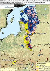 Karte: Gesamtübersicht 2017 - ASF im Baltikum, in Polen, der Ts